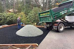 Core Gravel system being installed at a residential gravel parking