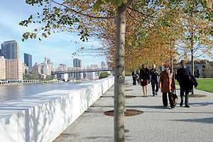 Sole pave walkway foundation in FDR Four Freedom's Park, New York City.