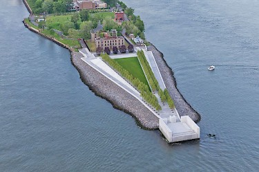 New York's FDR Four Freedom's Park Public Walkway (surrounding the park's greenspace) is surfaced with Solepave.