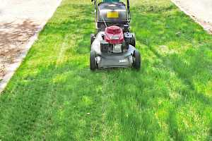 mowing grass parking pad