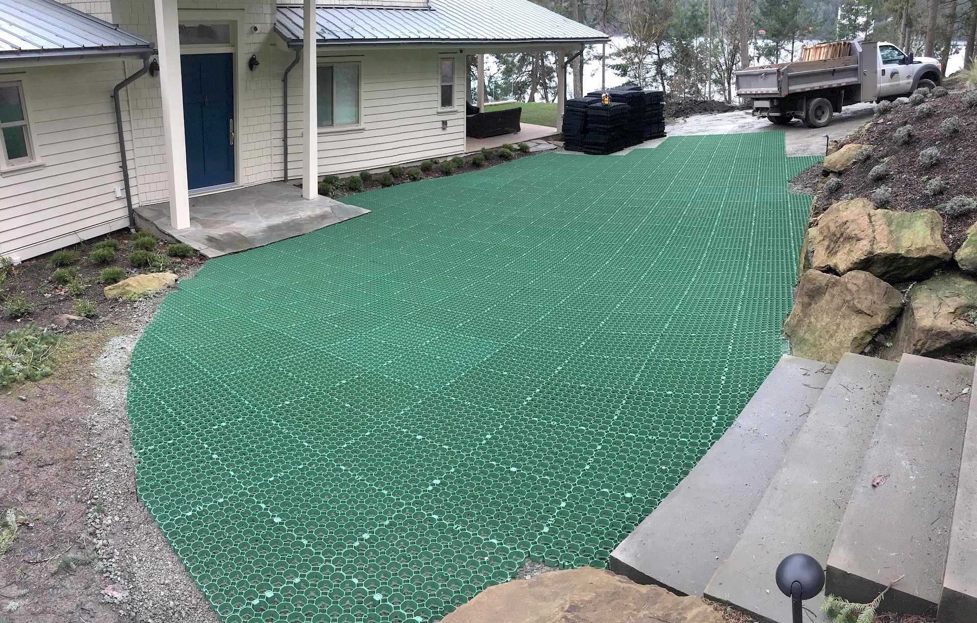 Grass Surfaced Permeable Parking Foundation Systems Core