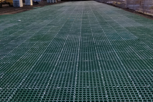CORE Grass driveway being installed at a Bus Facility