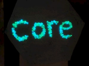 CORE glow in the dark Glass – green and blue beads