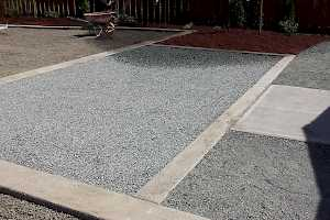 A finished section of the parking area with gravel in place.