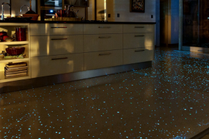 White floor at night - glow chips are camouflaged during the day and glow at night.