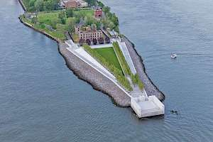 Sole pave walkway installation in FDR Four Freedom's Park, New York City.