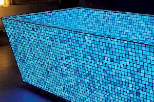 Lucedentro blue glass tiles create magic and relaxing visual landscapes.
