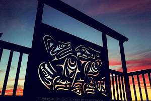 Bear and Eagle Privacy Screen - Coast Salish Design
