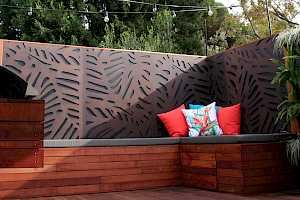 Outdeco Privacy Screen - Daintree design - installed in patio area