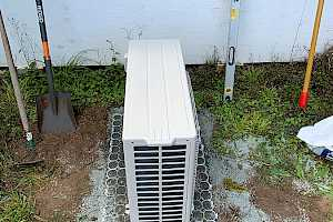 Place your heat pump on the foundation.