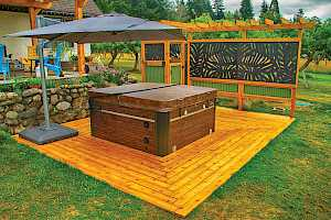 Floating Deck sitting on a CORE Hot Tub Foundation easily supports a hot tub.